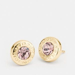 Coach NWT Gold And Pink Stud Earrings